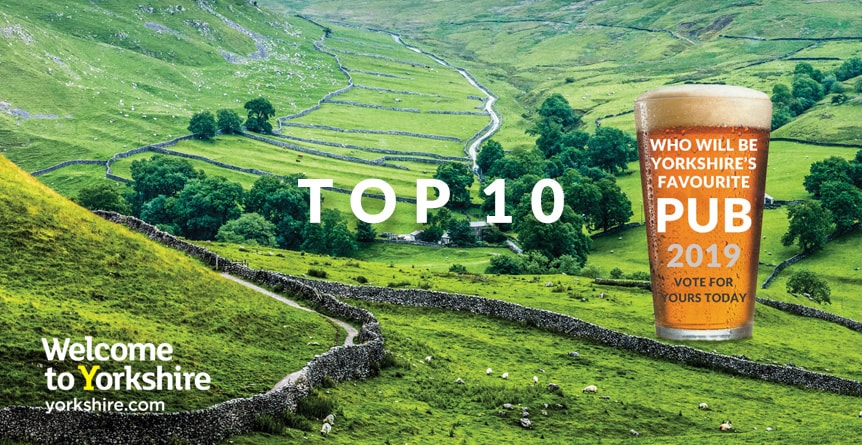 Yorkshire's Favourite Pub Top 10 - The Black Bull Moulton - An image of a Yorkshire landscape with a beer in the centre